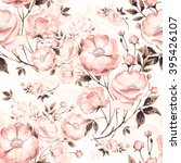 Stock photo seamless pattern of wild rose c the pattern of watercolor sketches by hand beautiful background 395426107