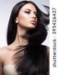 beautiful brunette girl in move ... | Shutterstock . vector #395426437