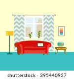 flat retro interior living room ... | Shutterstock .eps vector #395440927