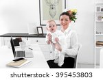 businesswoman with baby boy at... | Shutterstock . vector #395453803