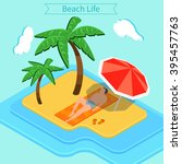 beach vacation. summer time.... | Shutterstock .eps vector #395457763