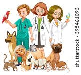 vets and many type of animals... | Shutterstock .eps vector #395461093