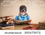 child is pretending to be a... | Shutterstock . vector #395475973