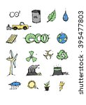 ecology icons set. oil  water ... | Shutterstock .eps vector #395477803