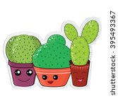 hilarious family of cacti on a... | Shutterstock .eps vector #395493367