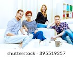 happy smiling young people... | Shutterstock . vector #395519257