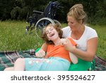 the girl is a disabled person... | Shutterstock . vector #395524627