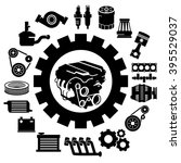 vector car parts set icons | Shutterstock .eps vector #395529037