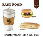 vector fast food set with... | Shutterstock .eps vector #395533153