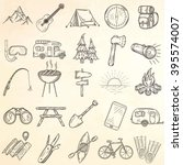set of hand drawn camping icons.... | Shutterstock .eps vector #395574007