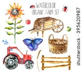 Watercolor Organic Farm. Hand...