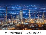 oil refinery factory at... | Shutterstock . vector #395645857