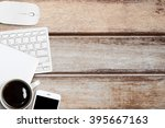 old wood office table with... | Shutterstock . vector #395667163
