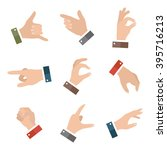 collection open empty hands... | Shutterstock .eps vector #395716213