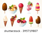 a large set of ice cream.... | Shutterstock .eps vector #395719807