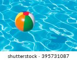colorful beach ball floating in ... | Shutterstock . vector #395731087