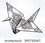 origami  ornate bird. paper... | Shutterstock .eps vector #395733547