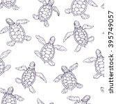 little turtle contour seamless... | Shutterstock .eps vector #395749057