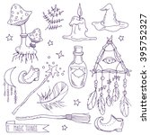 ritual magic things  hand drawn ... | Shutterstock .eps vector #395752327