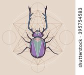 horned bug with sacred geometry ... | Shutterstock .eps vector #395754583