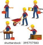 male builder working flat icon | Shutterstock .eps vector #395757583