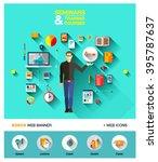 bright technology education set ... | Shutterstock .eps vector #395787637