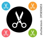 round scissors icon isolated on ... | Shutterstock . vector #395850853