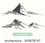 sketch of mountains  engraving... | Shutterstock .eps vector #395878747