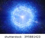 blue big bang  explosion in... | Shutterstock . vector #395881423