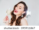 cheerful attractive woman... | Shutterstock . vector #395911867