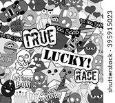 black and white stickers... | Shutterstock .eps vector #395915023