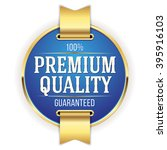 blue premium quality badge ... | Shutterstock .eps vector #395916103