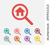 set of  red search house vector ...