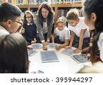 school teacher teaching... | Shutterstock . vector #395944297
