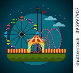amusement park with the ferris... | Shutterstock .eps vector #395997907