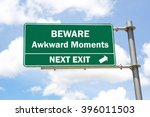 green overhead road sign with a ... | Shutterstock . vector #396011503