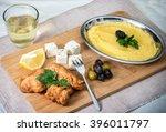 traditional greek meze  cod... | Shutterstock . vector #396011797