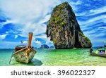 Long Tail Boat At Phra Nang Cave