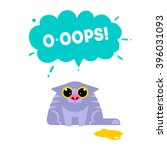 oops card with cat isolated on... | Shutterstock .eps vector #396031093