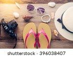 travel accessories summer...   Shutterstock . vector #396038407