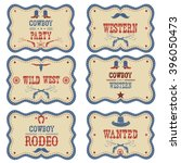 cowboy labels isolated on white.... | Shutterstock .eps vector #396050473