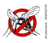 anti mosquito sign with a funny ... | Shutterstock .eps vector #396056743