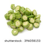 Small photo of chopped okra Abelmoschus isolated on white background