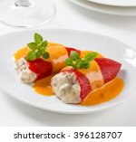 stuffed red piquillo peppers ... | Shutterstock . vector #396128707