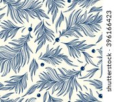 seamless pattern with feathers. ... | Shutterstock .eps vector #396166423
