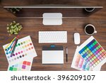 top view of a wooden desk with...   Shutterstock . vector #396209107
