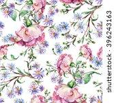 branch pink roses  blue flower  ... | Shutterstock . vector #396243163