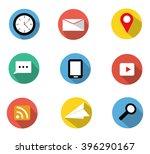 flat icons set contain clock e...