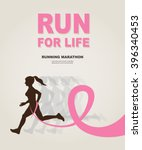 sport woman running pink ribbon ... | Shutterstock .eps vector #396340453