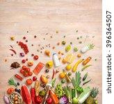 healthy food background. studio ... | Shutterstock . vector #396364507
